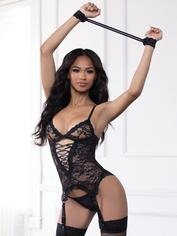 Seven 'til Midnight Midnight Affair Red Lace Bustier Set, Black, hi-res