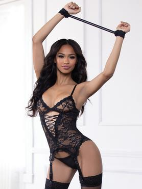 Ensemble guêpière string dentelle Midnight Affair noir, Seven 'til Midnight