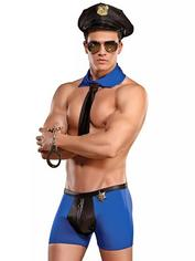Male Power Sexy Cop Costume, Blue, hi-res