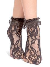 Leg Avenue Black Lace Ankle Socks, Black, hi-res