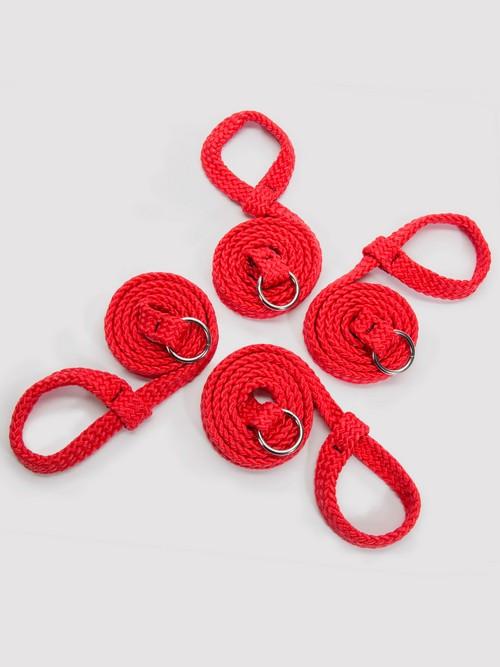 Coffret de contraintes de position en cordage soyeux rouge, Bondage Boutique