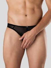 LHM Stripe Mesh Thong for Men, Black, hi-res