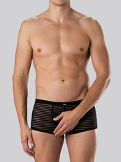 LHM Stripe Mesh Open Back Boxer Shorts, Black, hi-res