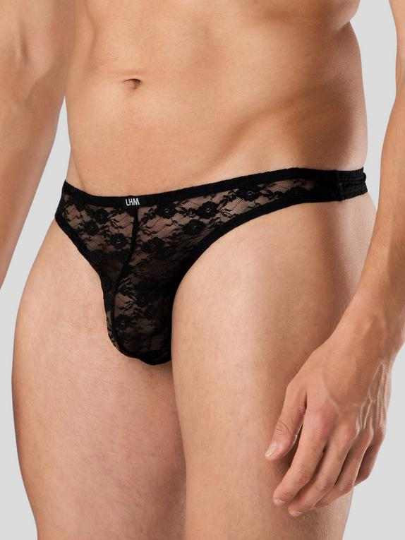 LHM All Over Lace Thong for Men, Black, hi-res