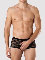 LHM All Over Lace Open Front and Back Boxer Shorts, Black, hi-res