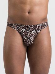 LHM Leopard Print Thong for Men, Brown, hi-res