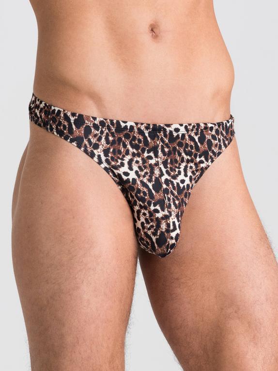 Tanga Masculino con Estampado de Leopardo de LHM, Marrón, hi-res