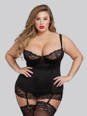 Lovehoney Adore Me Underwired Black Basque Set, Black, hi-res