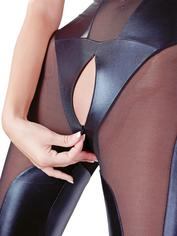 Cottelli Wet Look Catsuit with Concealed Zips, Black, hi-res