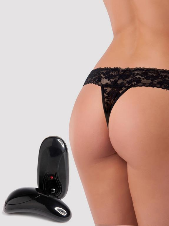 Secrets 5 Function Remote Control Vibrating Lace Thong, Black, hi-res