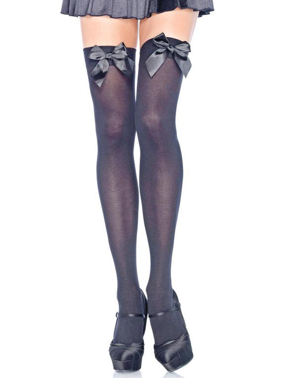 Leg Avenue Plus Size Opaque Hold-Ups with Satin Bow, Black, hi-res