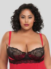 Lovehoney Adore Me Underwired Black Basque Set, Red, hi-res