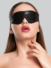 Bondage Boutique Black Rose Faux Fur Lined Blindfold, Black, hi-res