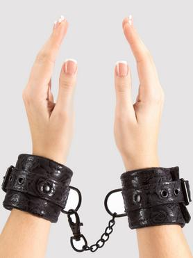 Bondage Boutique Black Rose Faux Fur Lined Wrist Cuffs