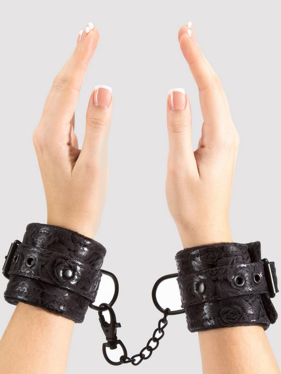Bondage Boutique Black Rose Faux Fur Lined Wrist Cuffs, Black, hi-res