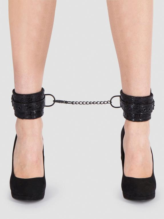 Bondage Boutique Black Rose Faux Fur Lined Ankle Cuffs, Black, hi-res