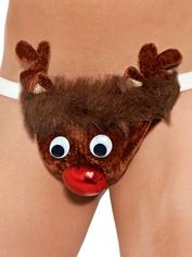 Rude-olf Reindeer Sexy Novelty Thong for Men, Brown, hi-res