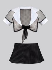 Lovehoney Fantasy Sexy Secretary Tie Front Top and Skirt Set, Black, hi-res