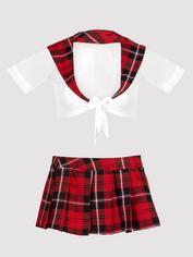 Lovehoney Fantasy Sheer Top and Red Tartan Skirt Set, Red, hi-res