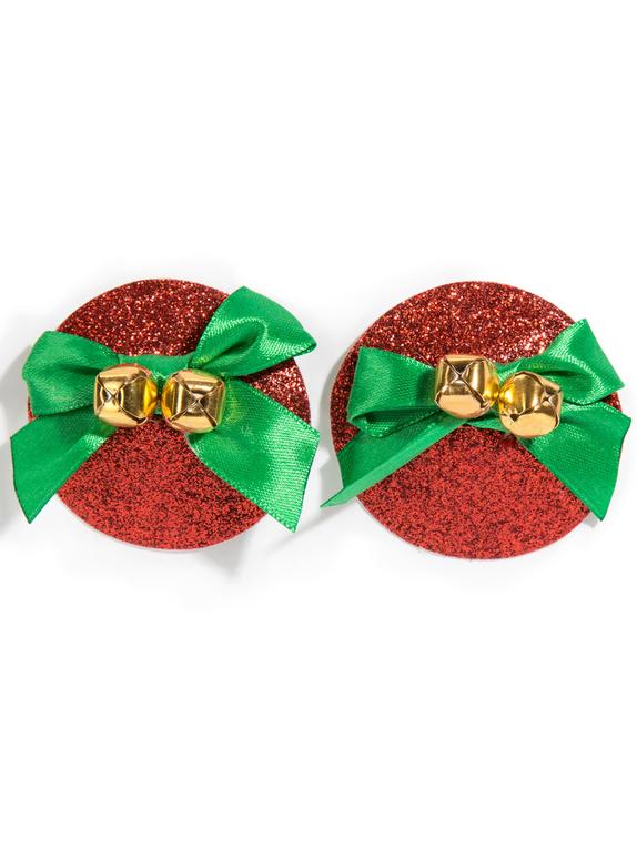 Bijoux adhésifs Jingle Bells pour tétons, Rouge, hi-res