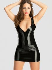 Rubber Girl Latex Plunge Mini Dress, Black, hi-res