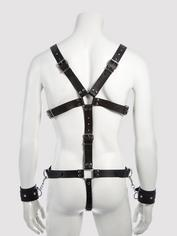 DOMINIX Deluxe Leather Body Harness with Cock Ring and Wrist Cuffs, Black, hi-res