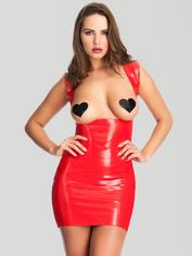 Easy-On Latex Underbust Spanking Dress, Red, hi-res