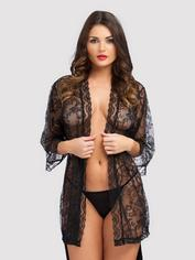 Lovehoney Flaunt Me Floral Lace Robe, Black, hi-res