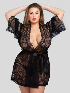 Lovehoney Plus Size Flaunt Me Floral Lace Robe