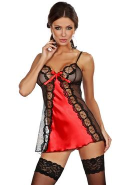 Beauty Night Michéle Satin and Lace Red Chemise