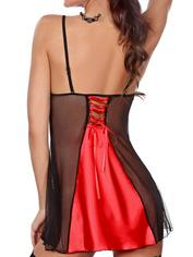 Beauty Night Satin and Lace Turquoise Chemise, Red, hi-res