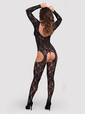 Lovehoney Long Sleeve Lace Suspender Bodystocking, Black, hi-res