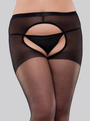 Lovehoney Plus Size Crotchless Tights, Black, hi-res
