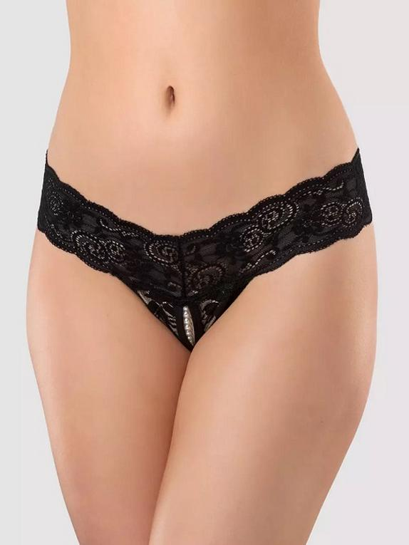 Lovehoney Crotchless Pearl Thong, Black, hi-res