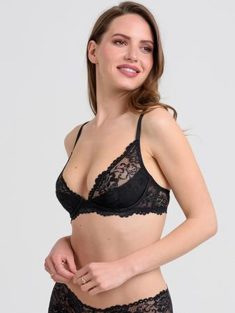 Lovehoney Flirty Underwired Plunge Bra Black