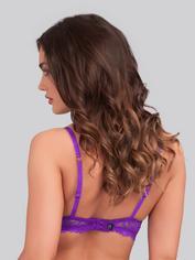 Lovehoney Flirty Underwired Plunge Bra Black, Purple, hi-res