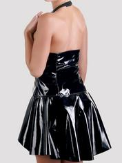 Black Level PVC Zipper Front Halterneck Mini Dress, Black, hi-res