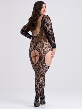 Lovehoney Plus Size Long Sleeve Lace Suspender Bodystocking