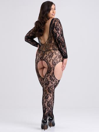 Lovehoney Plus Size Long Sleeve Lace Garter Bodystocking