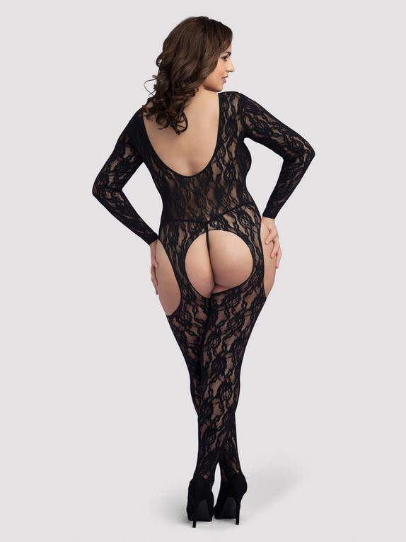 Lovehoney Plus Size Long Sleeve Lace Suspender Bodystocking, Black, hi-res