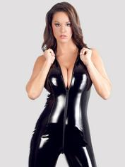 Black Level PVC Catsuit with Full-Length Zip, Black, hi-res