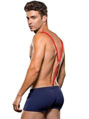 Envy Sexy Fireman Trunks and Suspenders Set, Blue, hi-res