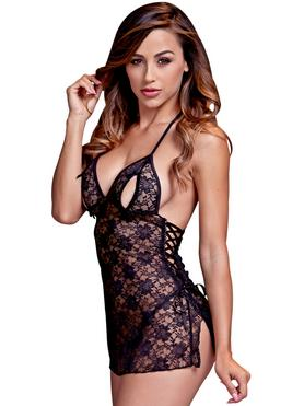 Baci Lingerie Lace Up Peek-a-Boo Chemise