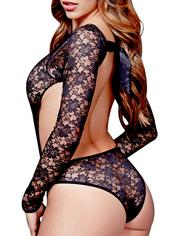 Baci Lingerie Open Back Crotchless Long Sleeve Lace Teddy, Black, hi-res
