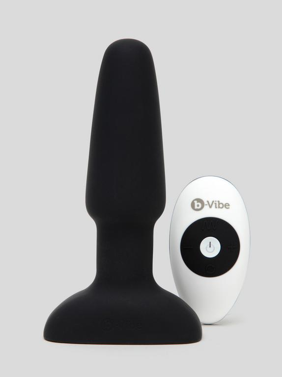 b-Vibe Remote Control Rechargeable Vibrating Rimming Butt Plug, Black, hi-res
