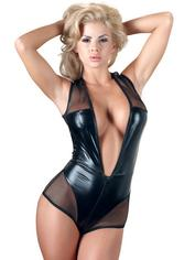 Cottelli Wet Look and Sheer Crotchless Teddy, Black, hi-res