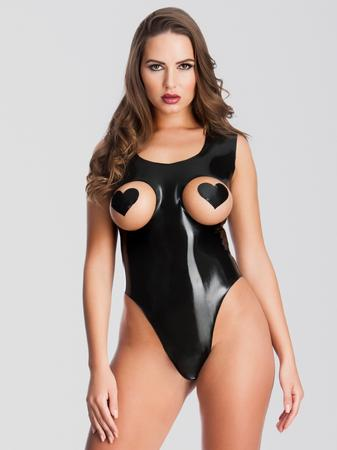Easy-On Latex Leotard Teddy with Open Cups