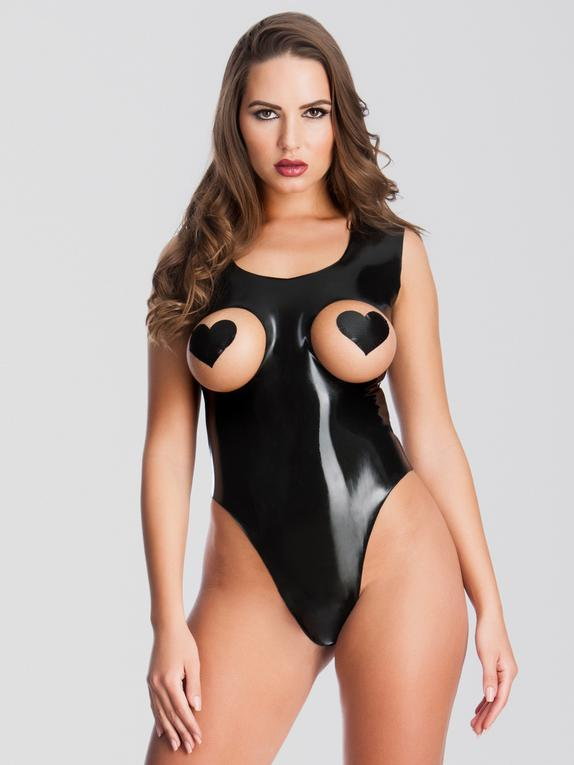Easy-On Latex Leotard Teddy with Open Cups, Black, hi-res