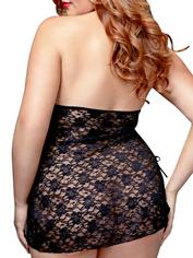 Baci Lingerie Lace Up Peek-a-Boo Chemise, Black, hi-res