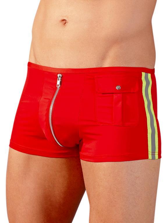 Boxer pompier sexy zip frontal, Svenjoyment, Rouge, hi-res